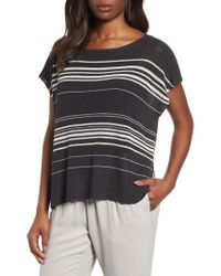 Eileen Fisher - Black Organic Linen Blend Poncho Sweater - Lyst
