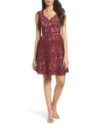Adrianna Papell | Red Cynthia Lace Fit & Flare Dress | Lyst
