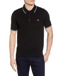 Fred Perry - Black Tipped Pique Polo for Men - Lyst