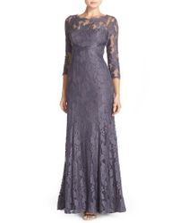 Adrianna Papell - Gray Illusion Yoke Lace Gown - Lyst