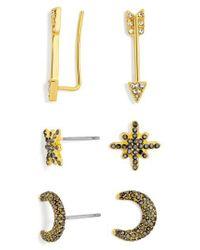 BaubleBar   Metallic 3-pack Crystal Earrings   Lyst