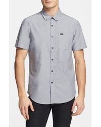 RVCA - Gray 'that'll Do' Slim Fit Short Sleeve Oxford Shirt for Men - Lyst