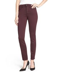 NYDJ | Brown Alina Colored Stretch Skinny Jeans | Lyst