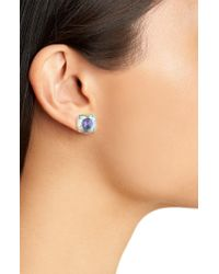 Kate Spade - Blue Mini Small Square Semiprecious Stone Stud Earrings - Lyst