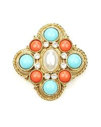 Ben-Amun - Blue Faux Pearl Center Brooch - Lyst