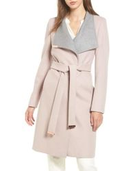 12d029fa6ace81 Lyst - Ted Baker Wool Blend Long Wrap Coat in Pink