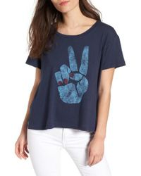 Sundry - Blue Peace Sign Tee - Lyst