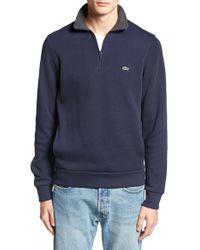 Lacoste | Blue Quarter Zip Sweatshirt for Men | Lyst