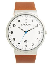 Skagen | Brown 'ancher' Round Leather Strap Watch | Lyst