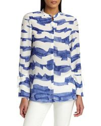 Lafayette 148 New York - Blue Desra Silk Blouse - Lyst