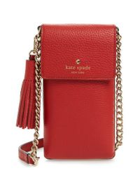 Kate Spade | Black North/south Leather Smartphone Crossbody Bag | Lyst