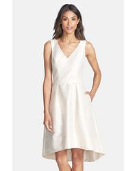 Alfred Sung | Metallic Satin High/low Fit & Flare Dress | Lyst