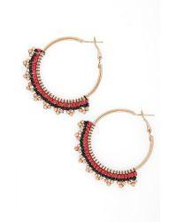6048715d5 Lyst - TOPSHOP Hava Beaded Hoop Earrings in Red