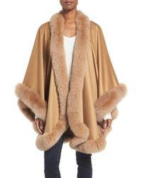 Sofia Cashmere | Natural Genuine Fox Fur Trim Cape | Lyst