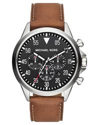 MICHAEL Michael Kors   Brown Michael Kors 'gage' Chronograph Leather Strap Watch for Men   Lyst