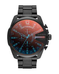 DIESEL - Black Diesel 'mega Chief' Chronograph Bracelet Watch for Men - Lyst