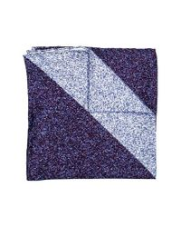Hook + Albert | Blue Geometric Silk Pocket Square | Lyst