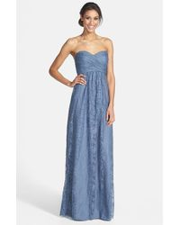 Amsale | Gray Pleated Lace Sweetheart Strapless Gown | Lyst