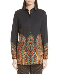 Etro - Multicolor Scrolling Paisley Print Stretch Cotton Top - Lyst