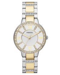 Fossil - Metallic 'virginia' Crystal Bezel Bracelet Watch - Lyst