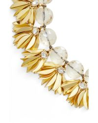 Serefina - Metallic Crystal & Leaf Statement Necklace - Lyst