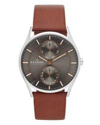 Skagen - Gray 'holst' Multifunction Leather Strap Watch for Men - Lyst