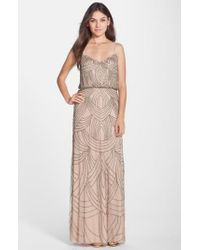 Adrianna Papell | Pink Beaded Chiffon Blouson Gown | Lyst
