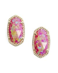 Kendra Scott | Pink Ellie Oval Stud Earrings | Lyst