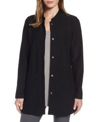 Eileen Fisher - Black Mandarin Collar Knit Jacket - Lyst