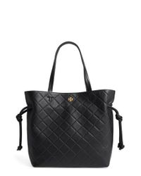 Tory Burch | Black Georgia Slouchy Quilted Leather Tote | Lyst