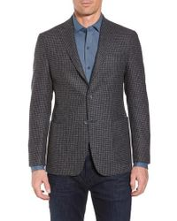 Bugatchi - Blue Wool Blend Houndstooth Blazer for Men - Lyst