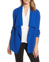 Chaus - Blue Mixed Cotton Knit Cardigan - Lyst