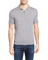 John Smedley - Gray Stripe Jersey Polo for Men - Lyst