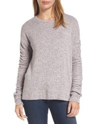 Caslon   Pink Caslon Ruched Sleeve Pullover   Lyst