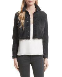 L'Agence - Black Zuma Sequin Star Crop Denim Jacket - Lyst
