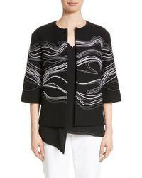 St. John - Black Bella Brushstroke Double Weave Jacket - Lyst