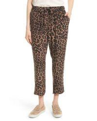 Joie | Brown Ayanna B Leopard Print Silk Crop Pants | Lyst