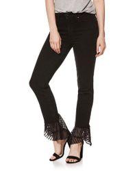 PAIGE - Black Hoxton High Waist Handkerchief Hem Straight Leg Jeans - Lyst