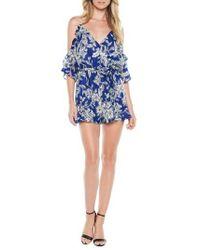 Bardot - Blue Sicily Cold Shoulder Romper - Lyst