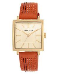 Anne Klein - Metallic Square Leather Strap Watch - Lyst