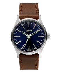 Nixon - Blue 'the Sentry 38' Leather Strap Watch - Lyst