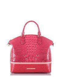 Brahmin Pink Large Duxbury Croc Embossed Leather Satchel -