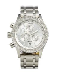Nixon | Metallic 'the 38-20' Crystal Bezel Chronograph Bracelet Watch | Lyst