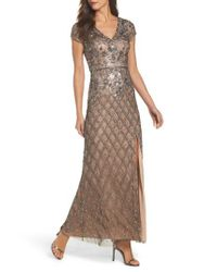 Adrianna Papell | Multicolor Beaded V-neck Mesh Gown | Lyst