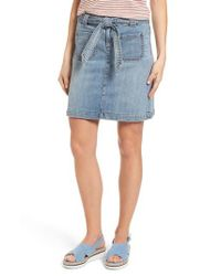Caslon - Blue Caslon Belted Stretch Denim Skirt - Lyst