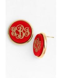 Moon & Lola - Metallic 'vineyard' Personalized Monogram Stud Earrings - Lyst