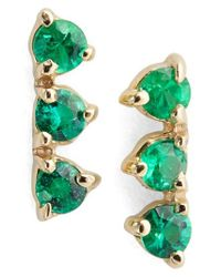 Wwake - Green Counting Collection Three Step Emerald Statement Earrings (nordstrom Exclusive) - Lyst
