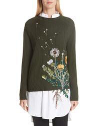 Oscar de la Renta - Multicolor Dandelion-embroidered Wool-blend Pullover - Lyst