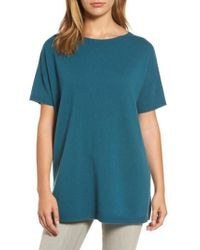 Eileen Fisher | Blue Cashmere Tunic Sweater | Lyst