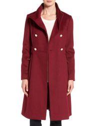 Eliza J | Red Wool Blend Long Military Coat | Lyst